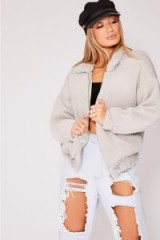 IN THE STYLE KAELIA GREY TEDDY FUR BOMBER JACKET ~ casual autumn/winter jackets
