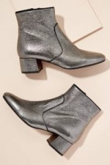 Kanna Metallic-Leather Ankle Boots ~ silver booties