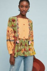 Let Me Be Kelly Patchwork Blouse | pretty green floral top