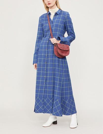 KHAITE Daniella blue checked cotton and cashmere-blend flannel dress