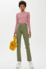 Topshop Khaki Clean Hem Straight Leg Jeans | green denim