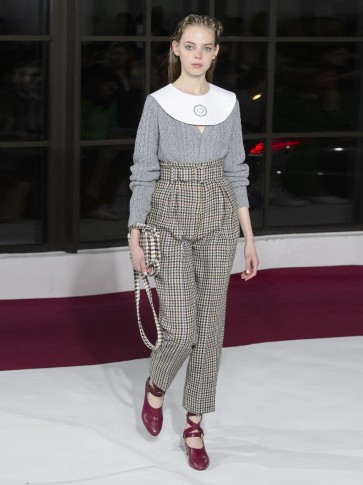 EMILIA WICKSTEAD Kia tapered houndstooth trousers / high waist pants