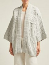 QUEENE AND BELLE Kitami light-grey cable-knit wool cardigan ~ kimono style cardi