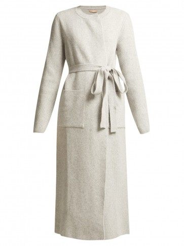 BROCK COLLECTION Koffi light-grey ribbed-knit wool-blend cardigan ~ elegant longline cardi