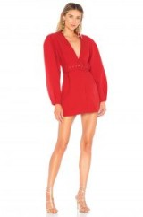 L'Academie THE AMBRE DRESS in Scarlet Red | structured plunge front mini