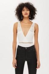 Topshop Lace Insert Plunge Bodysuit in Cream | deep V-neckline