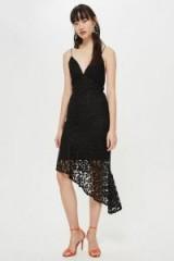 Topshop Black Lace Plunge Asymmetrical Slip Dress | thin straps | plunging neckline