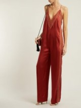 JONATHAN SIMKHAI Lace-trimmed acetate jumpsuit in rust-red