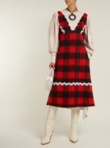 CALVIN KLEIN 205W39NYC Lace-trimmed red and black checked dress