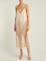JONATHAN SIMKHAI Cream and Orange Lace-trimmed satin dress | luxe slip dress
