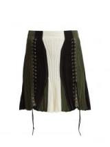 ALEXANDER MCQUEEN Lace-up silk-blend skirt ~ white, black and green panels
