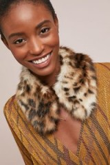 Helen Moore Lacey Faux-Fur Stole. ANIMAL PRINT WINTER ACCESSORY