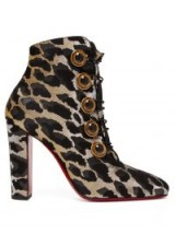 CHRISTIAN LOUBOUTIN Lady See 85 leopard-lurex ankle boots ~ gold thread animal print bootie