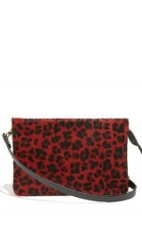 OASIS LARA LEATHER CROSS BODY BAG in Mid Red / small animal print crossbody