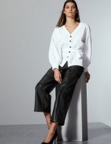 AUTOGRAPH Black Leather Straight Leg Trousers