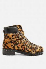 Topshop Leopard Print Hiker Boots in True Leopard | animal print buckled boot