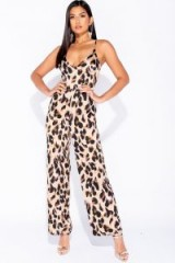 Parisian LEOPARD PRINT PLUNGE NECK WIDE LEG JUMPSUIT – glamorous party fashion