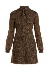 SAINT LAURENT Brown Leopard-print tie-neck wool dress. WILD ANIMAL PRINTS