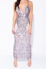 Parisian LILAC SEQUIN FRONT WRAPOVER FRONT MAXI DRESS – long strappy semi-sheer sequinned party dresses