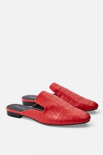 TOPSHOP LILI Backless Loafers in Red. CROC EMBOSSED MULES - flipped