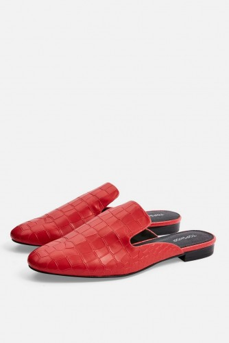 TOPSHOP LILI Backless Loafers in Red. CROC EMBOSSED MULES