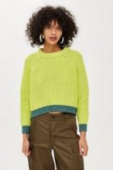 Topshop Lime Jumper | green metallic trim sweater