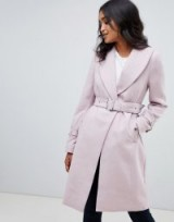 Lipsy Lilac Wool Coat with Shawl Collar