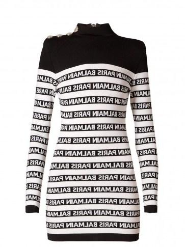 BALMAIN Black and White Logo-knit high-neck mini dress ~ evening glamour - flipped