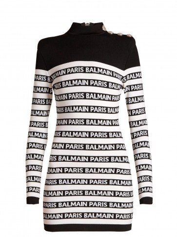 BALMAIN Black and White Logo-knit high-neck mini dress ~ evening glamour