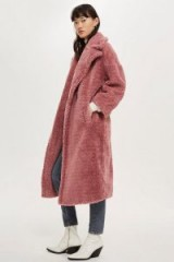 Topshop Long Borg Coat in Rose | pink teddy