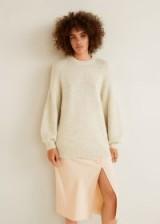 MANGO Long knit sweater in Ecru ~ Autumn neutrals