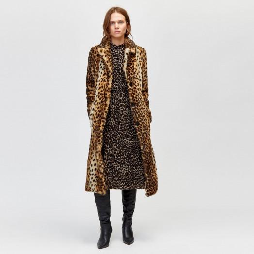 WAREHOUSE LONG LEOPARD FAUX FUR COAT / animal print winter coats
