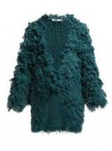 RYAN ROCHE Loop-knit green cashmere cardigan ~ shaggy luxe cardi