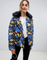 Lost Ink Padded Jacket With Faux Fur Collar In Spot Print Multi | autumn coats