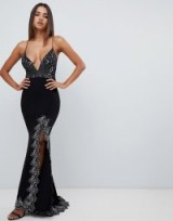 Love Triangle plunge front strappy back maxi dress with contrast lace applique in black / gunmetal