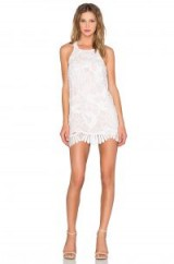 Lovers + Friends CASPIAN SHIFT DRESS in White | lace party frock | scalloped hem