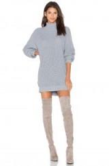 Lovers + Friends CHRISTINA SWEATER DRESS in Light Grey | roll neck jumper dresses