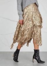 LOVESHACKFANCY Alex printed silk-blend lamé skirt ~ metallic thread clothing ~ boho luxe
