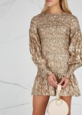 LOVESHACKFANCY Scarlett silk-blend lamé mini dress ~ feminine metallic thread clothing ~ luxe fabrics