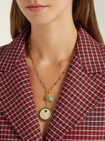 LIZZIE FORTUNATO Lucky Pink pendant charm necklace | luxe style necklaces