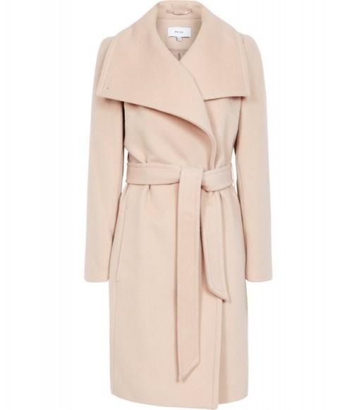 Reiss LUNA WOOL SELF TIE COAT LIGHT TAUPE / classic wrap coat