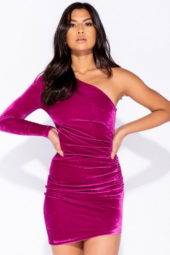 Parisian MAGENTA VELVET ONE SHOULDER ASYMMETRIC HEM BODYCON MINI DRESS