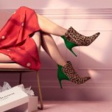 L.K. Bennett MAJA LEOPARD PRINT CALF HAIR SUEDE ANKLE BOOTS in NATURAL/MINT / green and brown tone booties