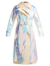 SIES MARJAN Mamie iridescent cotton trench coat – shiny belted mac