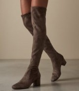 REISS MARGI OVER-THE-KNEE SUEDE BOOTS NEUTRAL ~ autumn tones