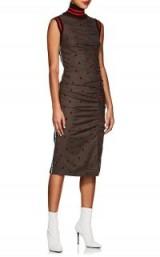 MARIANNA SENCHINA Polka Dot Flannel Turtleneck Fitted Tank Dress ~ side ruching ~ rib knit trims