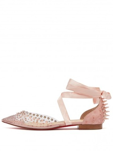 CHRISTIAN LOUBOUTIN Mechante Reine pink crystal and stud-embellished flats ~ suede and PVC - flipped