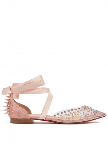 CHRISTIAN LOUBOUTIN Mechante Reine pink crystal and stud-embellished flats ~ suede and PVC
