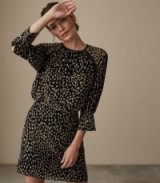 REISS MELANIA DITSY PRINT MINI DRESS ~ black and gold prints