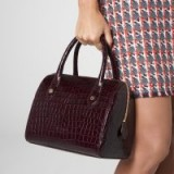 L.K. Bennett MELANIE WINE CROC EFFECT SHOULDER BAG in BORDEAUX / dark red bowling bags / embossed leather handbags